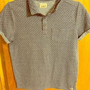 Blue Polka Dot, Short Sleeve Collard Shirt